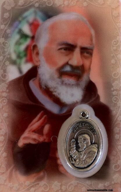 Carte médaille Père Pio