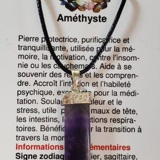 collier argent amethyste