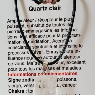 collier quartz clair brute