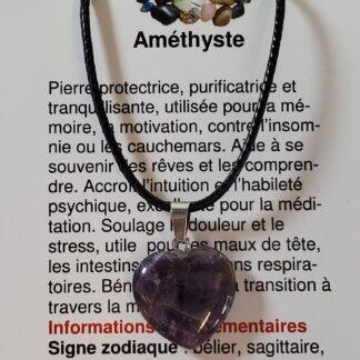 collier coeur amethyste