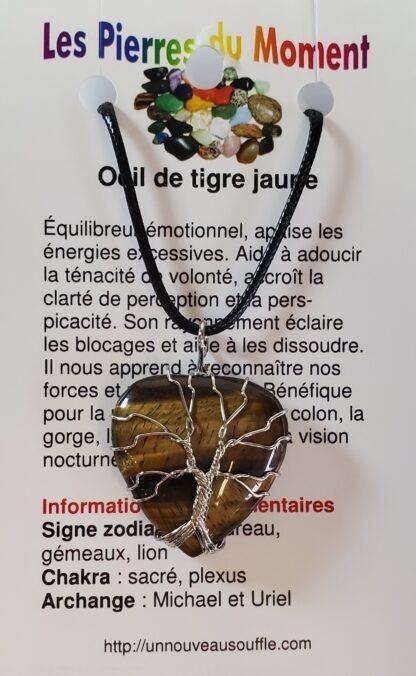 collier coeur arbre de vie oeil de tigre jaune
