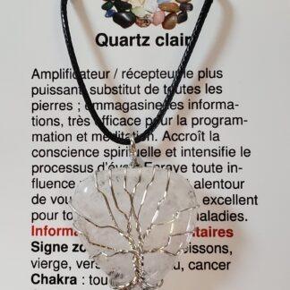 collier coeur arbre de vie quartz clair