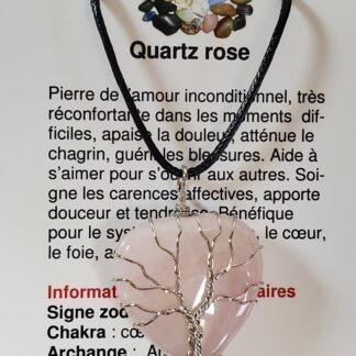 collier coeur arbre de vie quartz rose
