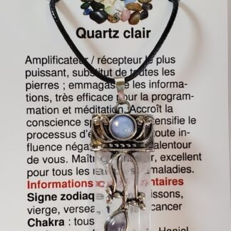 collier pointe 3 pierres quartz clair