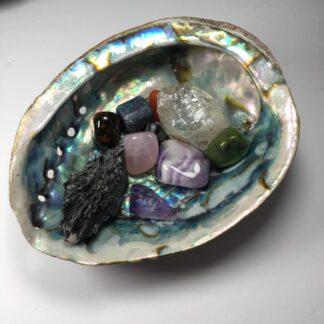 coquille d'ormeau avec pierres