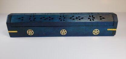 porte encens coffret bois bleu pentacle