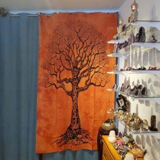Tapisserie murale arbre de vie - orange