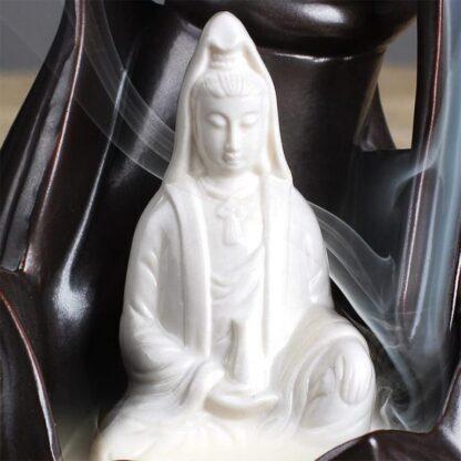 Brûleur d'encens à refoulement - Lotus avec Bouddha