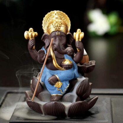 Brûleur d'encens à refoulement - Ganesh bleu