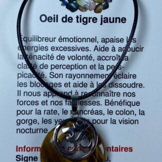 Collier rond avec breloque OM - œil de tigre jaune
