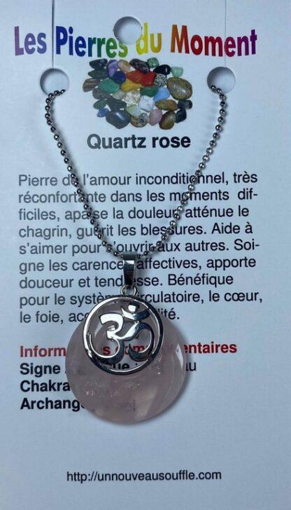 Collier rond avec breloque OM - quartz rose