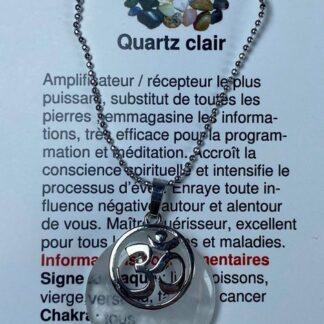 Collier rond avec breloque OM -quartz clair