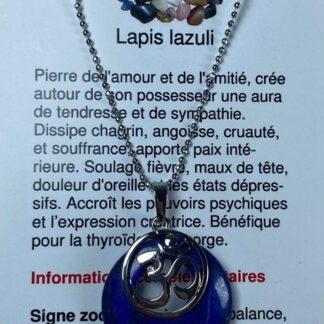 Collier rond avec breloque OM - lapis lazuli