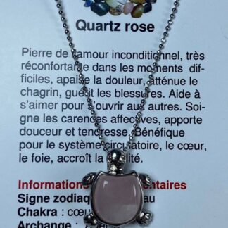 Collier tortue - quartz rose