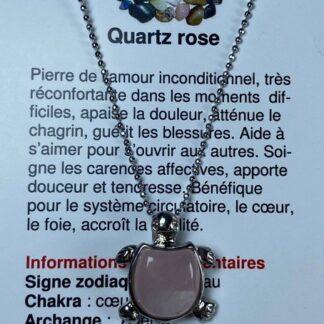 Collier tortue - quartz rose