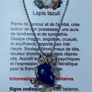 Collier hibou - lapis lazuli