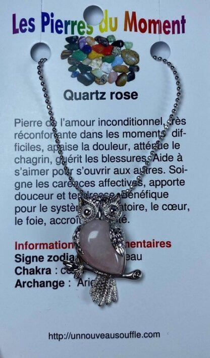 Collier hibou - quartz rose