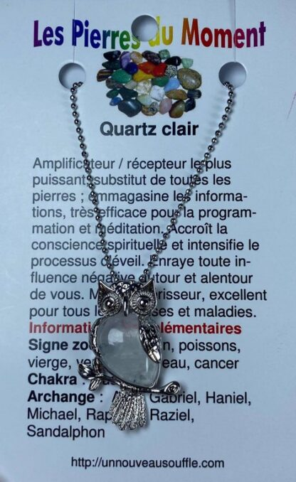 Collier hibou - quartz clair