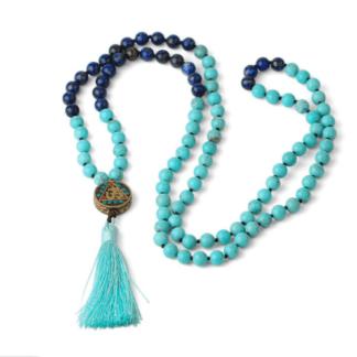 Collier mala howlite bleue et lapis lazuli