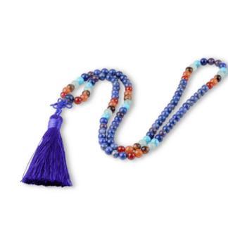 Collier mala lapis lazuli avec pierres des chakra