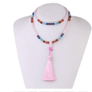 Collier mala quartz rose avec pierres des chakras
