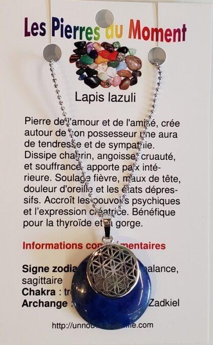 Collier rond avec breloque Fleur de vie –lapis lazuli