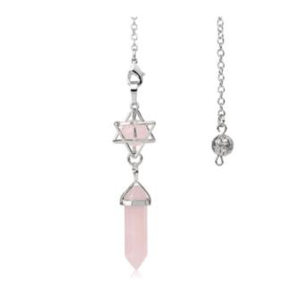 Pendule merkaba et double pointe - quartz rose